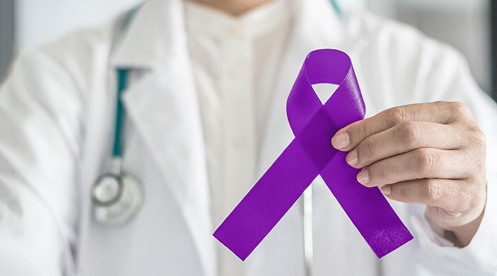 Medical practitioner with Epilepsy awareness ribbon