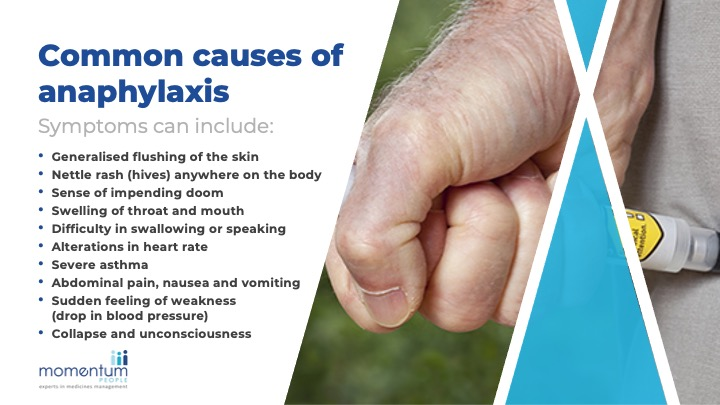 Sample training slide showing the common symptoms of anaphylaxis