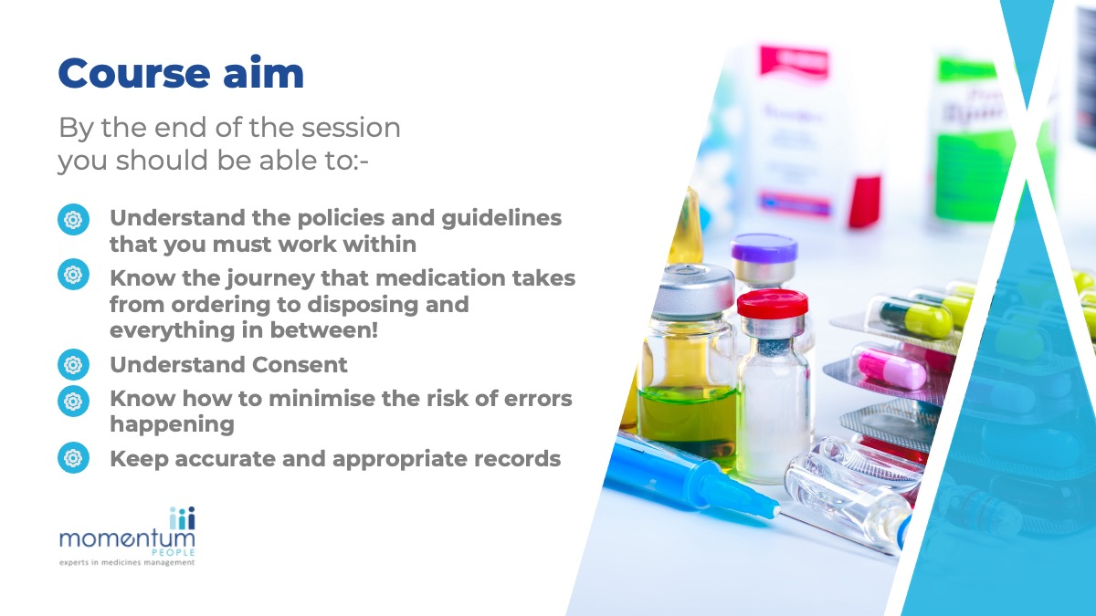 Momentum People's safe use of medicines course sample slides